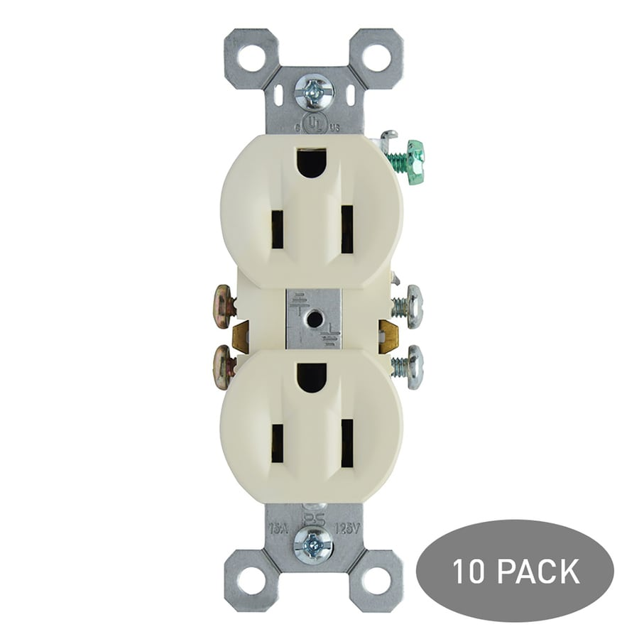Pass & Seymour/Legrand 10-Pack 15-Amp 125-Volt Light Almond Indoor Duplex Wall Outlet