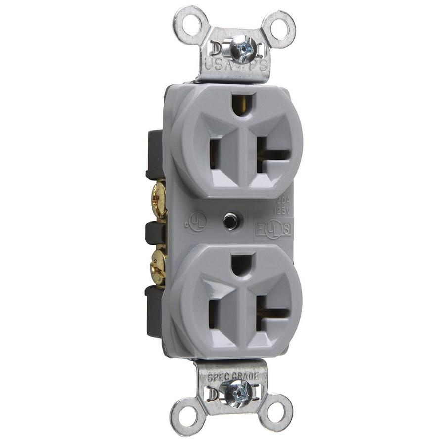 Legrand 20-Amp 125-Volt Gray Indoor Duplex Wall Outlet
