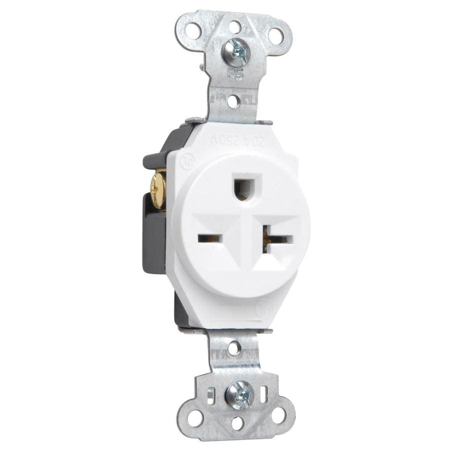 Legrand 20-Amp 250-Volt White Indoor Round Wall Outlet
