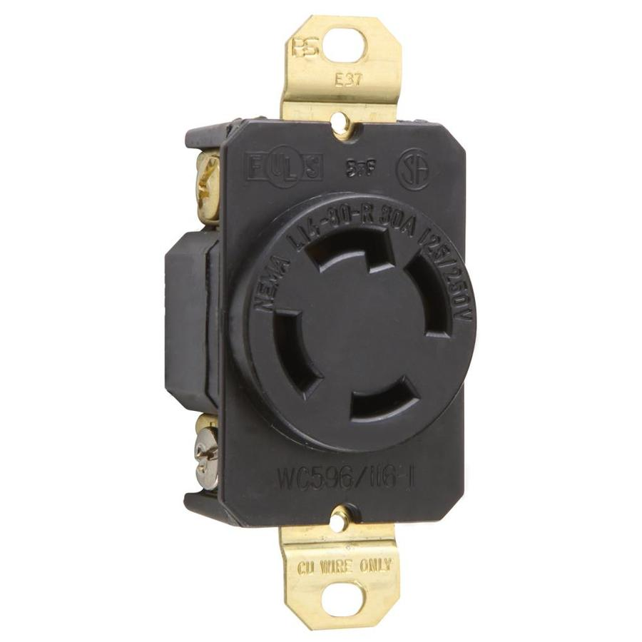 Legrand 30-Amp 250-Volt Black Indoor Round Wall Outlet