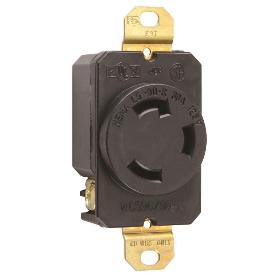 Legrand 30-Amp 125-Volt Black Indoor Round Wall Outlet
