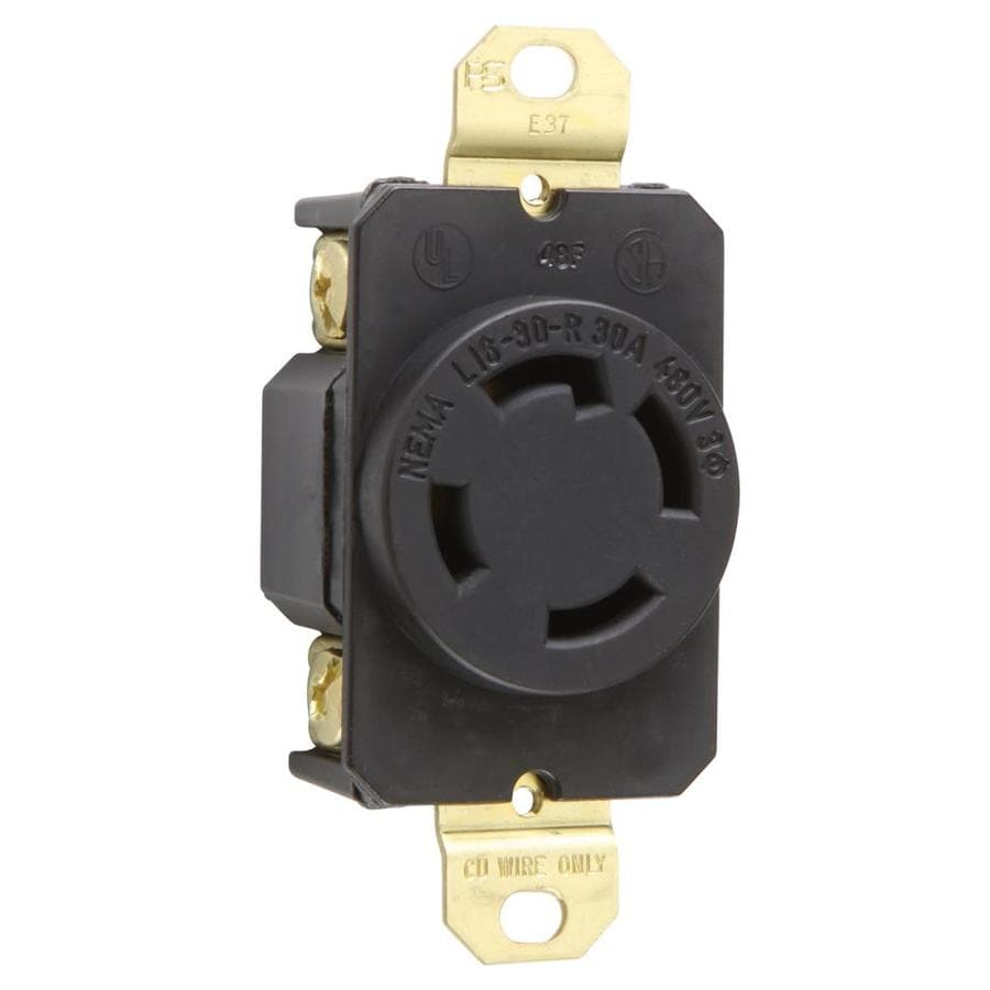 Pass & Seymour/Legrand 30-Amp 250-Volt Black Indoor Round Wall Outlet