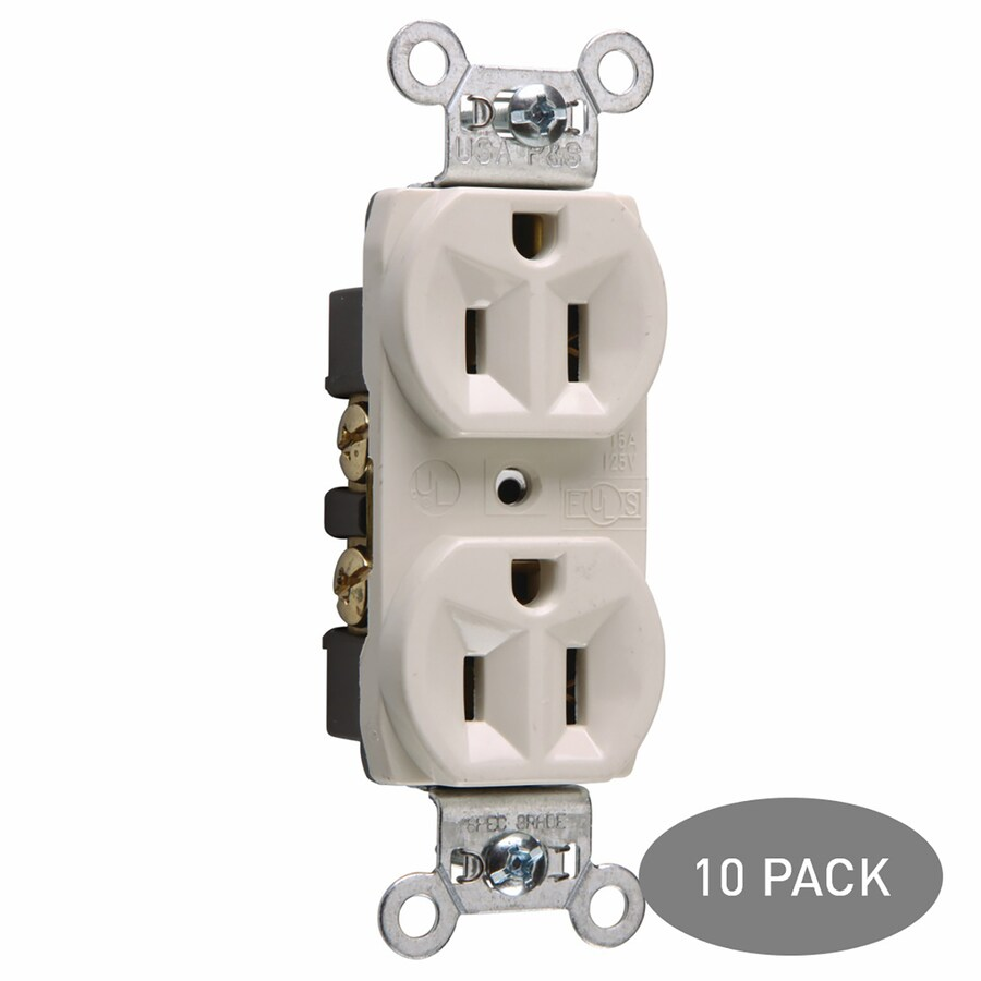 Legrand 10-Pack 15-Amp 125-Volt Light Almond Indoor Duplex Wall Outlet