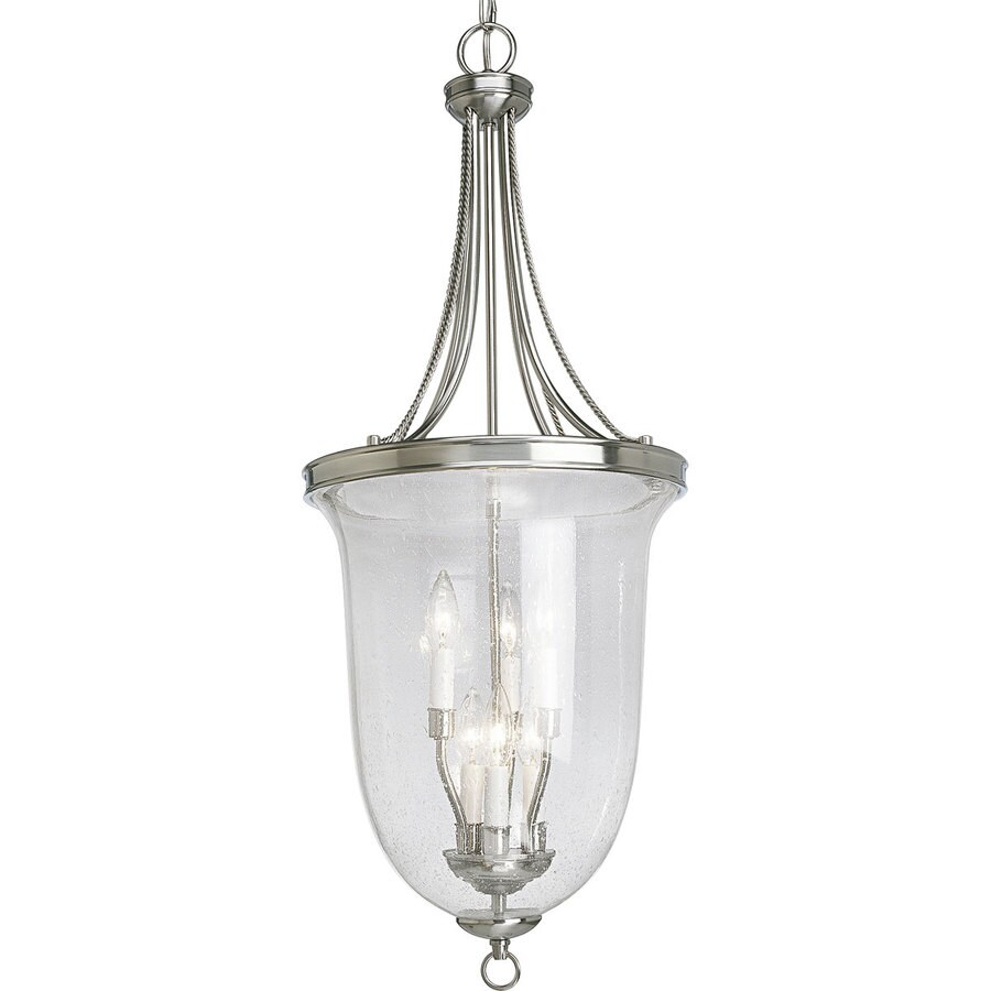 Progress Lighting Seeded Glass 14.25-in 6-Light Brushed nickel Seeded Glass Shaded Chandelier