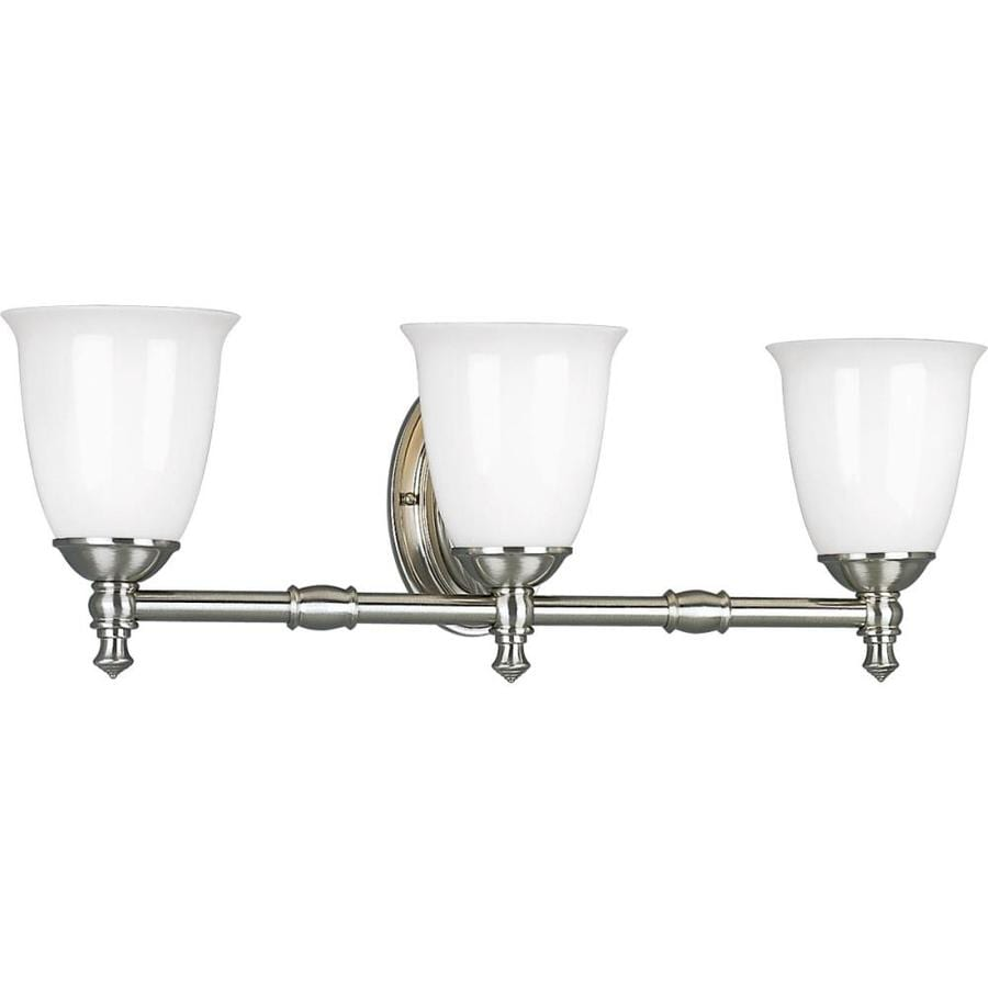 Progress Lighting Victorian 3-Light 8.5-in Brushed Nickel Bell Vanity Light