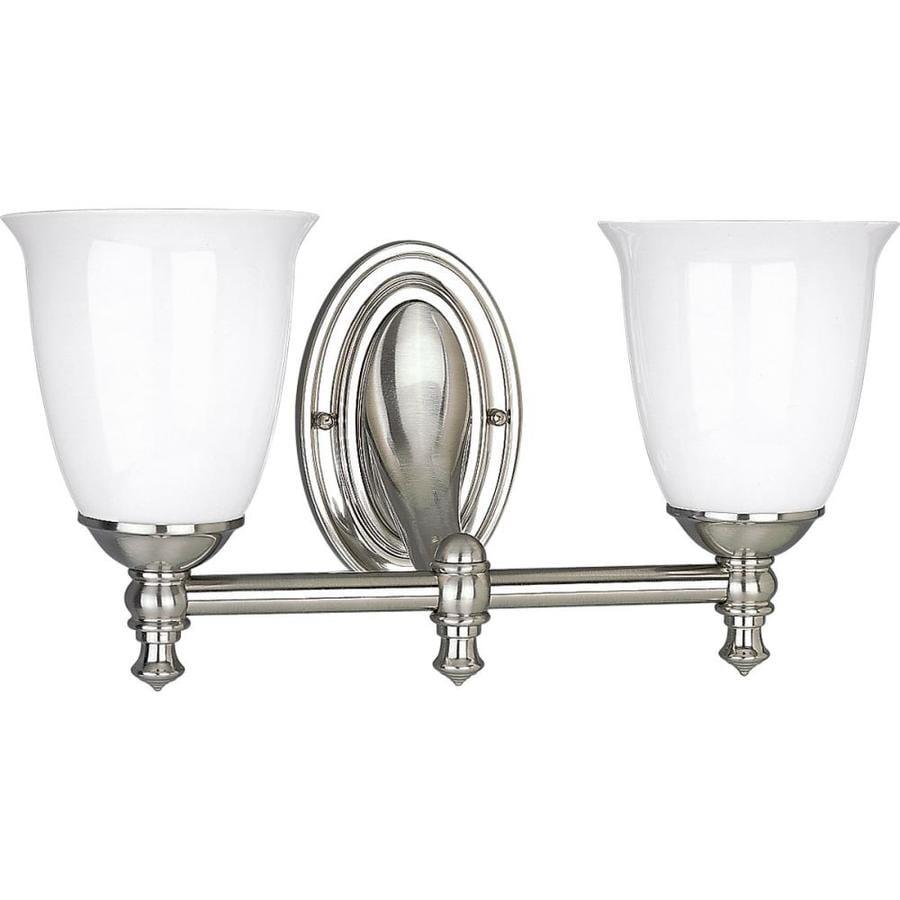 Progress Lighting Victorian 2-Light 8.5-in Brushed Nickel Bell Vanity Light