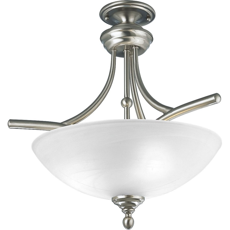 Progress Lighting Glendale 19-in W Brushed Nickel Frosted Glass Semi-Flush Mount Light