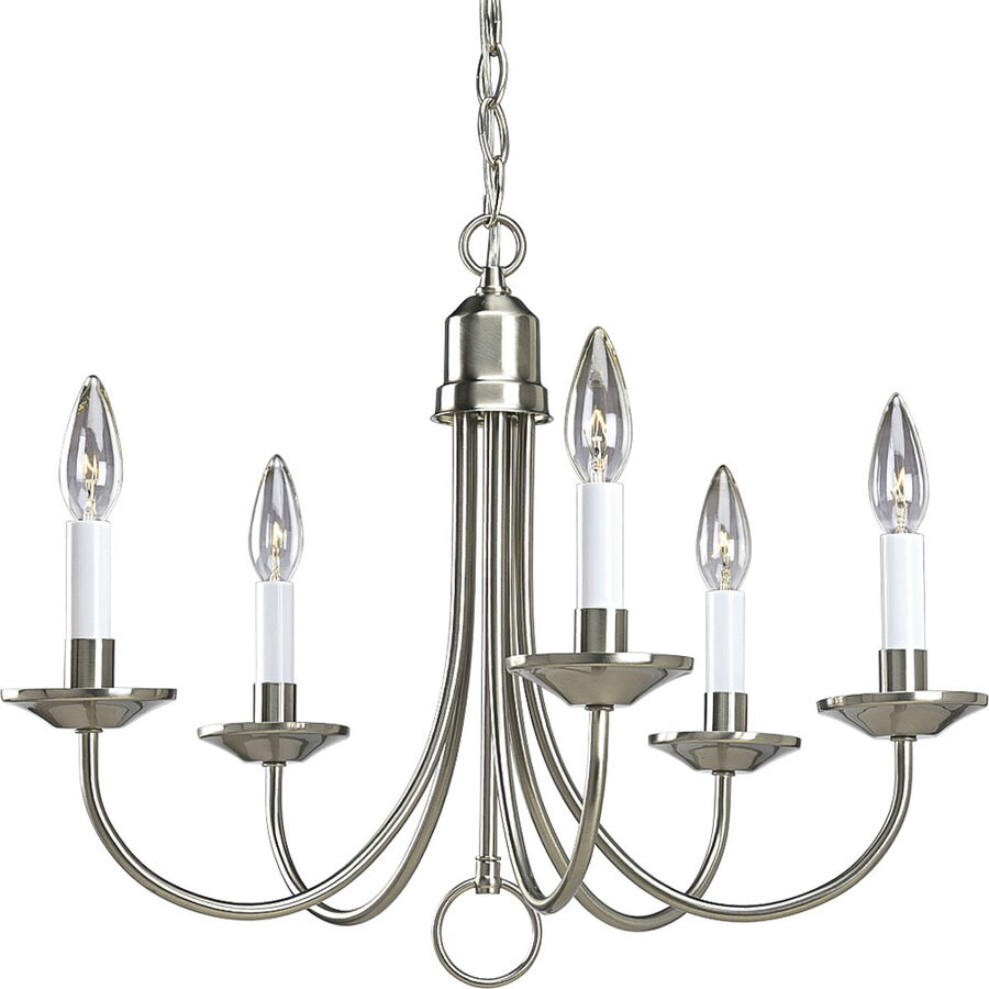 Shop Progress Lighting 21 In 5 Light Brushed Nickel Candle