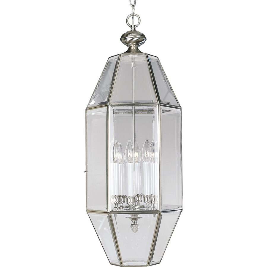 Progress Lighting 12.25-in 6-Light Brushed Nickel Clear Glass Cage Chandelier