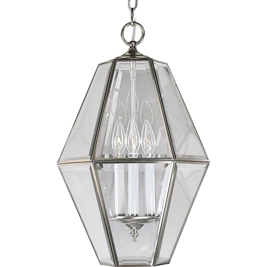 Progress Lighting 12.5-in 3-Light Brushed Nickel Clear Glass Cage Chandelier