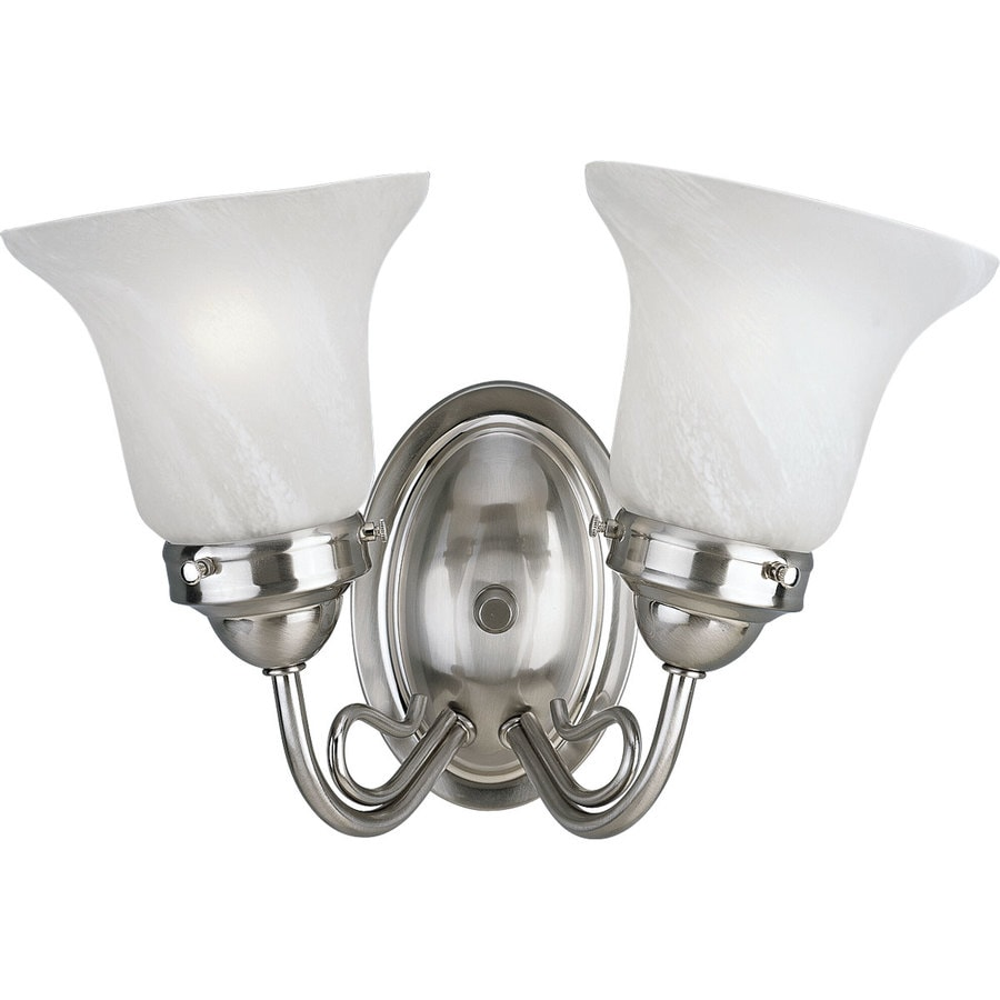 Progress Lighting Bedford 2-Light 8.25-in Brushed Nickel Bell Vanity Light