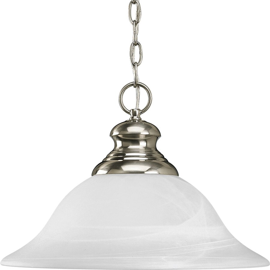 Progress Lighting Bedford 15.62-in Brushed Nickel Single Alabaster Glass Bell Pendant