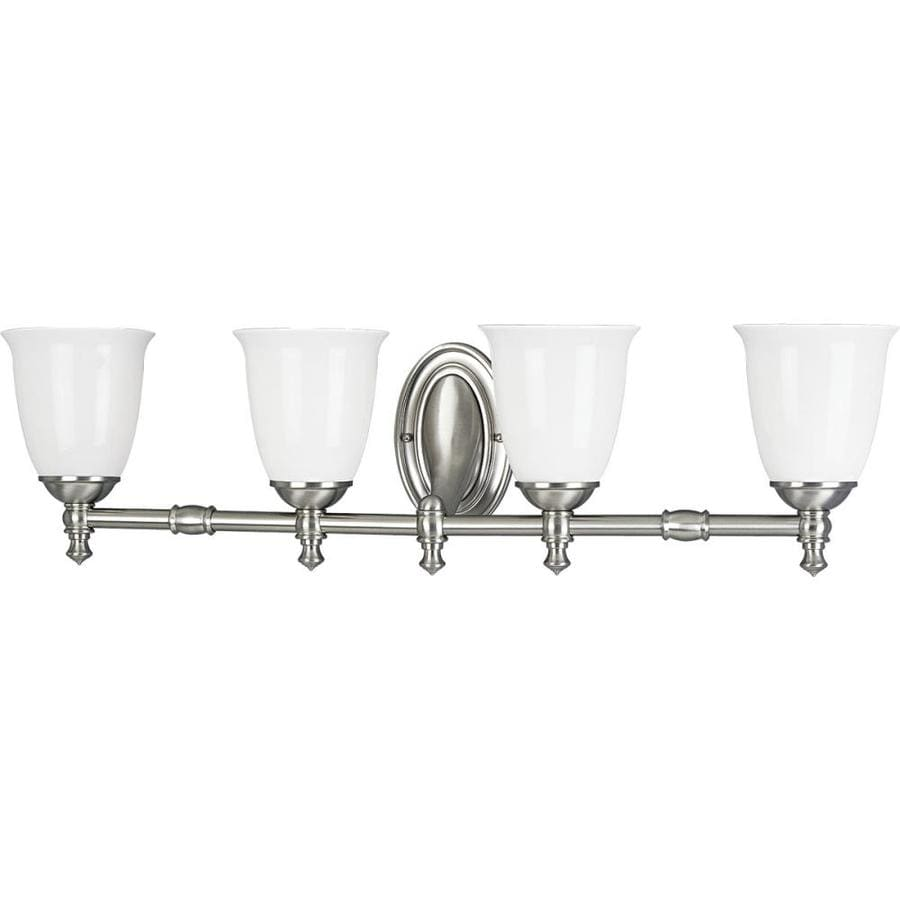 Shop Progress Lighting Victorian 4 Light 8 5 In Brushed Nickel Bell Vanity Li