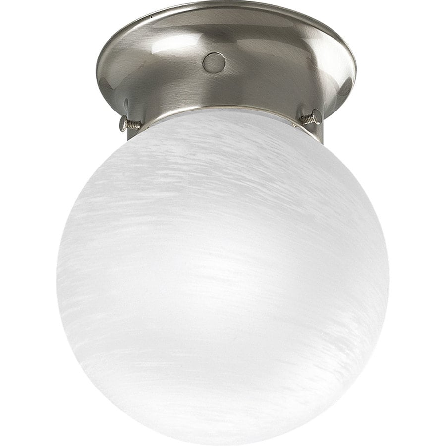 lighting glass globes 6 in w brushed nickel flush mount light at lowes. Black Bedroom Furniture Sets. Home Design Ideas