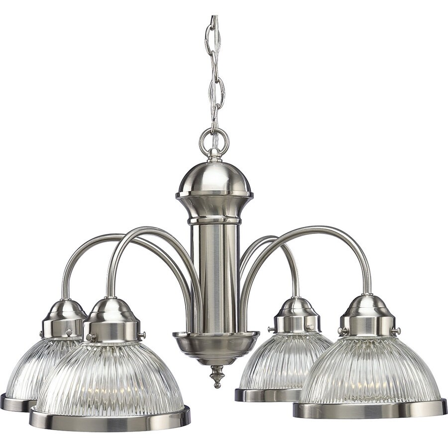 Progress Lighting 22.75-in 4-Light Brushed nickel Clear Glass Shaded Chandelier