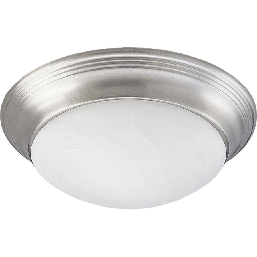 Progress Lighting Alabaster Glass 16.625-in W Brushed Nickel Flush Mount Light