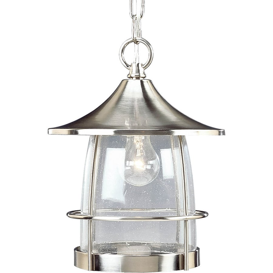 Progress Lighting Prairie 12.5-in Brushed Nickel Outdoor Pendant Light
