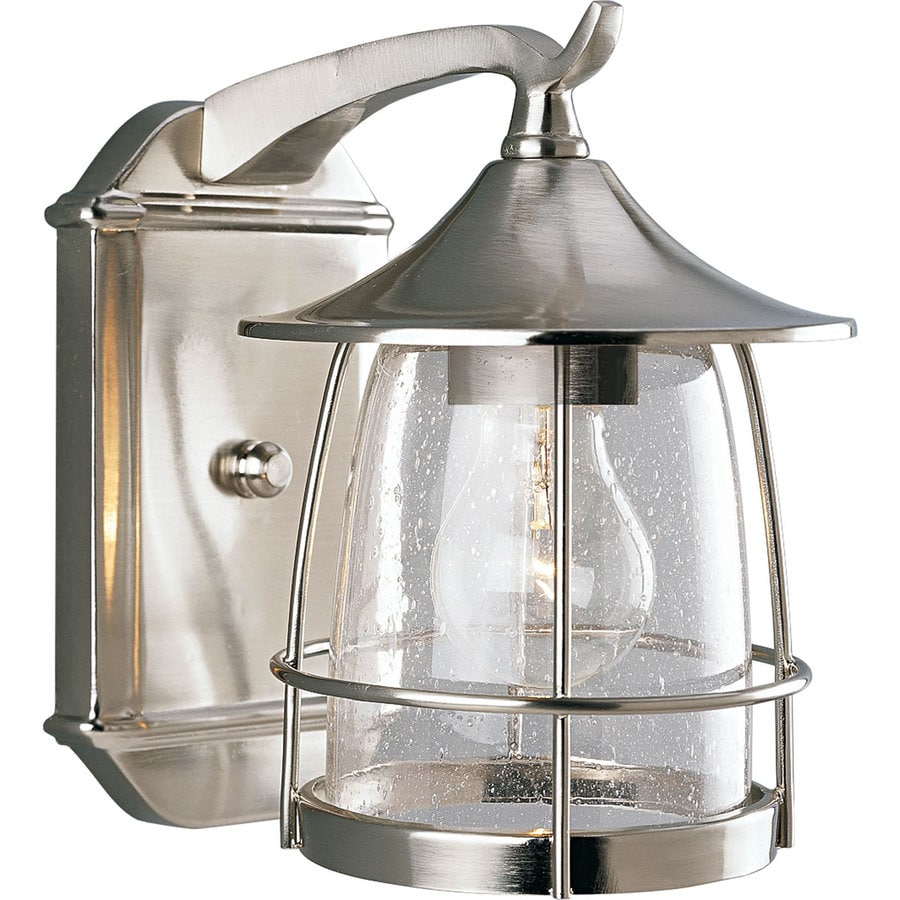lighting prairie h brushed nickel outdoor wall light at lowes. Black Bedroom Furniture Sets. Home Design Ideas