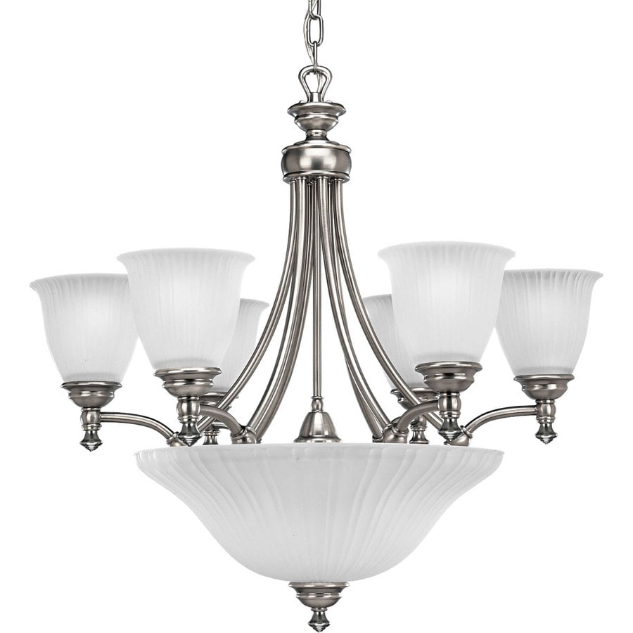 Progress Lighting Renovations 27.25-in 6-Light Antique Nickel Etched Glass Tiered Chandelier