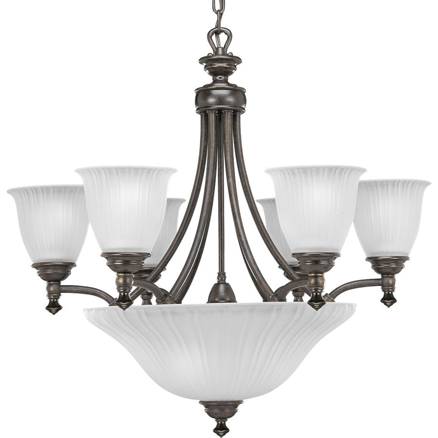 Progress Lighting Renovations 27.25-in 6-Light Forged Bronze Etched Glass Tiered Chandelier