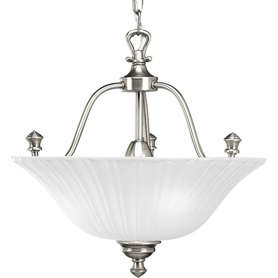 Progress Lighting Renovations 15.62-in W Antique nickel Frosted Glass Semi-Flush Mount Light