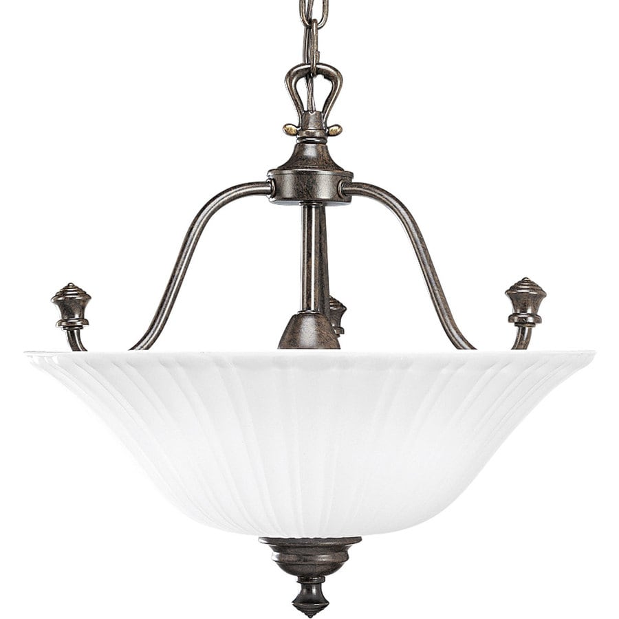 Progress Lighting Renovations 15.62-in W Forged Bronze Frosted Glass Semi-Flush Mount Light