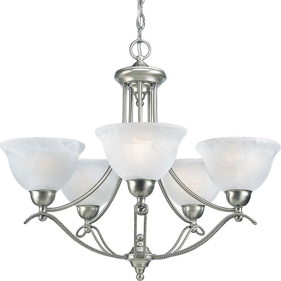 Progress Lighting Avalon 26.5-in 5-Light Brushed Nickel Alabaster Glass Shaded Chandelier