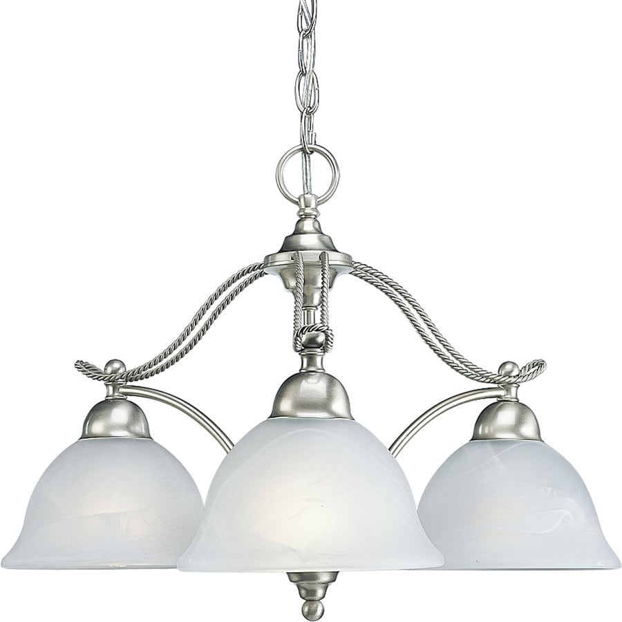 Progress Lighting Avalon 24.375-in 3-Light Brushed Nickel Alabaster Glass Shaded Chandelier