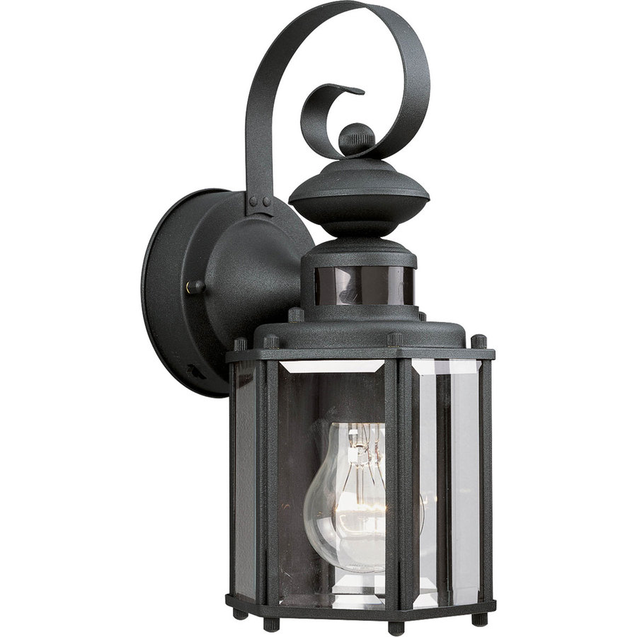 Outside Wall Lights With Sensor : Shop Progress Lighting Motion Sensor 13-in H Black Motion Activated Outdoor Wall Light at Lowes.com