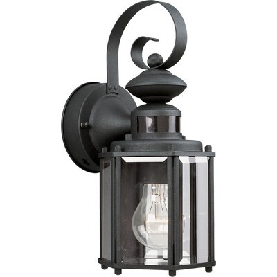 Motion Sensor 13 In H Black Medium Base E 26 Outdoor Wall Light