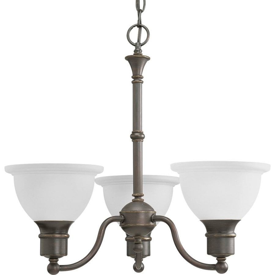 Progress Lighting Madison 22-in 3-Light Antique Bronze Etched Glass Shaded Chandelier