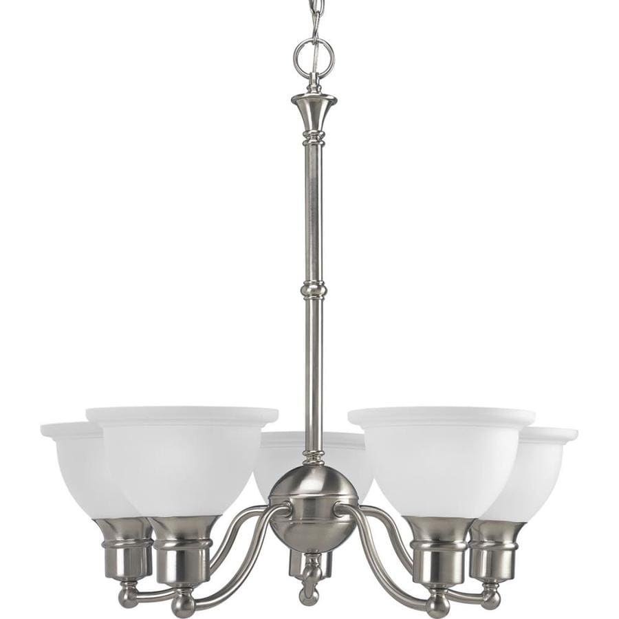 Progress Lighting Madison 24.625-in 5-Light Brushed Nickel Etched Glass Shaded Chandelier
