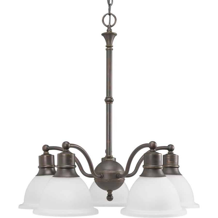 Progress Lighting Madison 24.625-in 5-Light Antique Bronze Etched Glass Shaded Chandelier