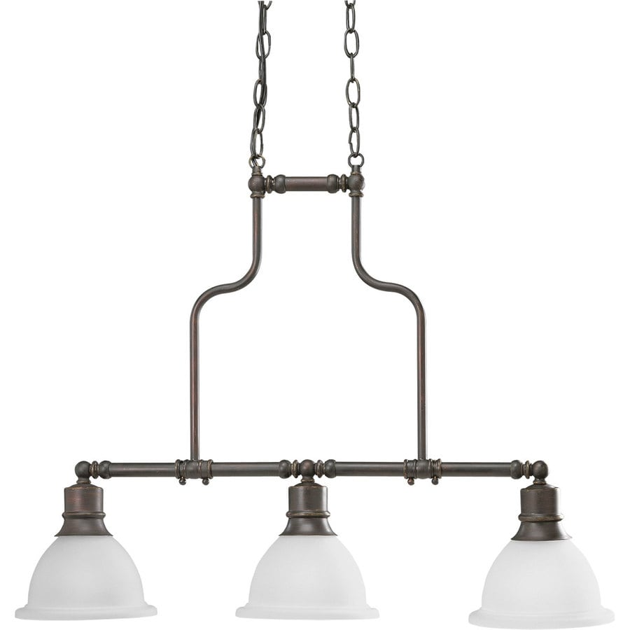 Progress Lighting Madison 31.25-in 3-Light Antique Bronze Etched Glass Shaded Chandelier