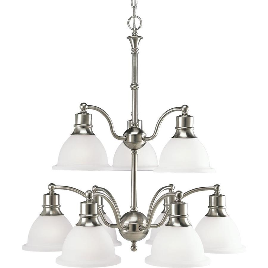 Progress Lighting Madison 29-in 9-Light Brushed Nickel Etched Glass Tiered Chandelier