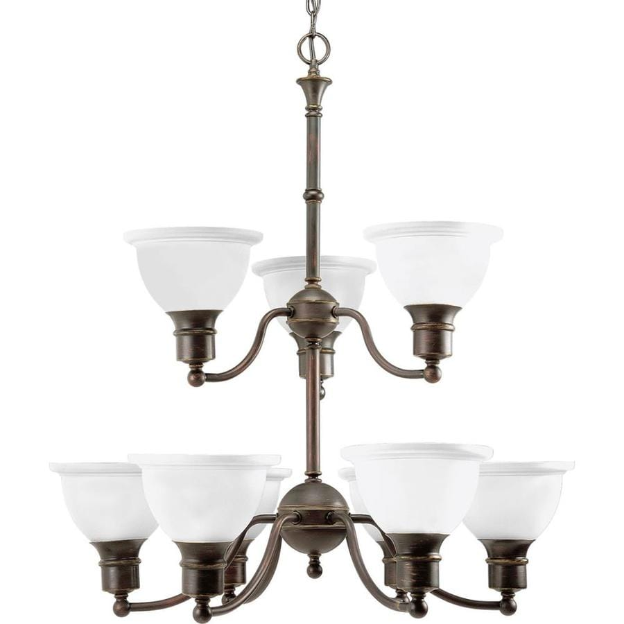 Progress Lighting Madison 29-in 9-Light Antique Bronze Etched Glass Tiered Chandelier