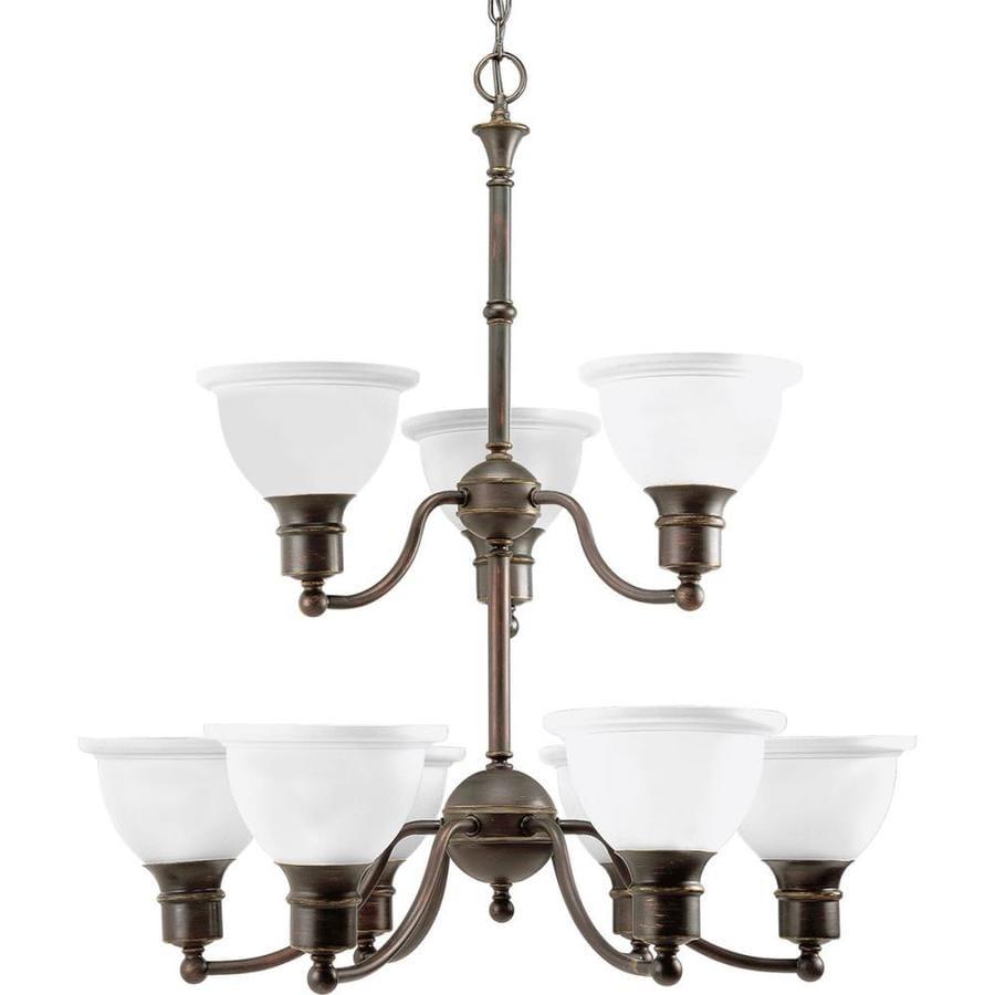 Progress Lighting Madison 29-in 9-Light Antique bronze Etched Glass Tiered Chandelier