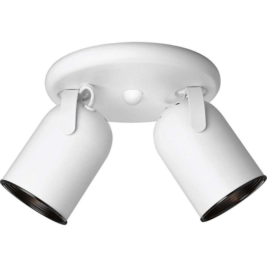 Progress Lighting Directional 2-Light 8.125-in White Flush-Mount Fixed Track Light Kit