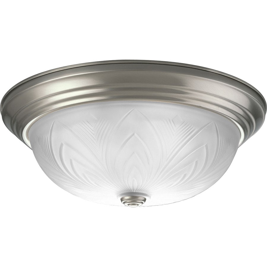Progress Lighting Etched Glass 15-in W Brushed Nickel Ceiling Flush Mount Light