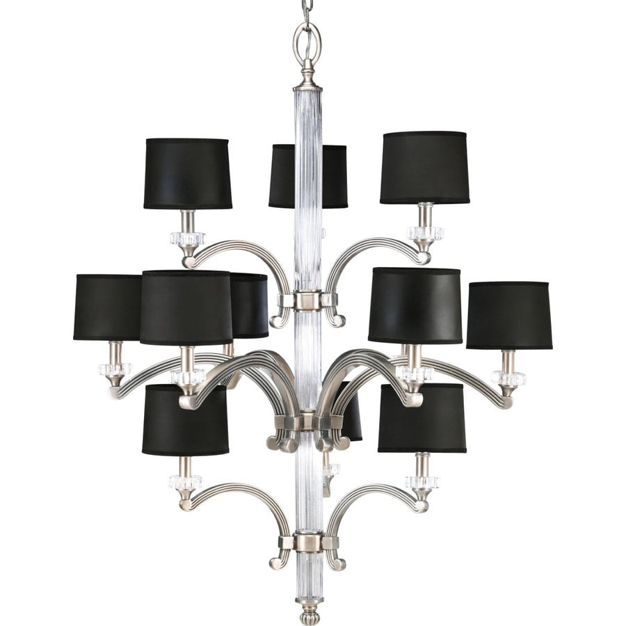 Progress Lighting Roxbury 33-in 12-Light Classic Silver Crystal Tiered Chandelier