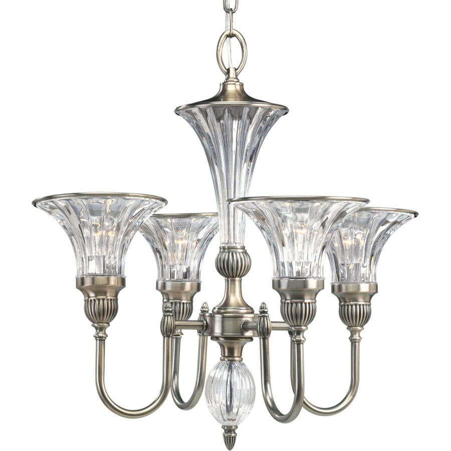 Progress Lighting Roxbury 24.25-in 4-Light Classic Silver Crystal Clear Glass Shaded Chandelier