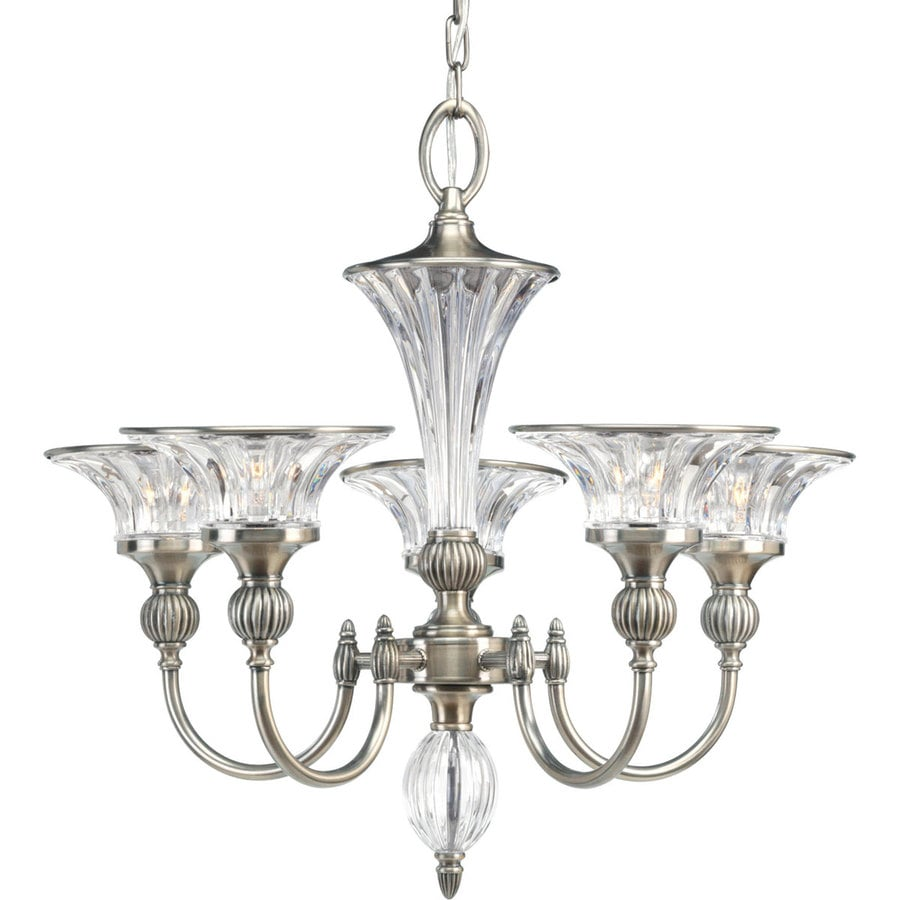 Progress Lighting Roxbury 24.25-in 5-Light Classic Silver Crystal Clear Glass Shaded Chandelier