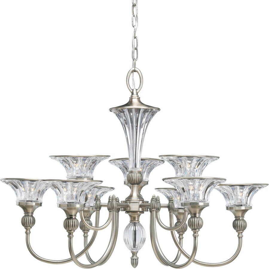 Progress Lighting Roxbury 32.25-in 9-Light Classic Silver Crystal Clear Glass Tiered Chandelier