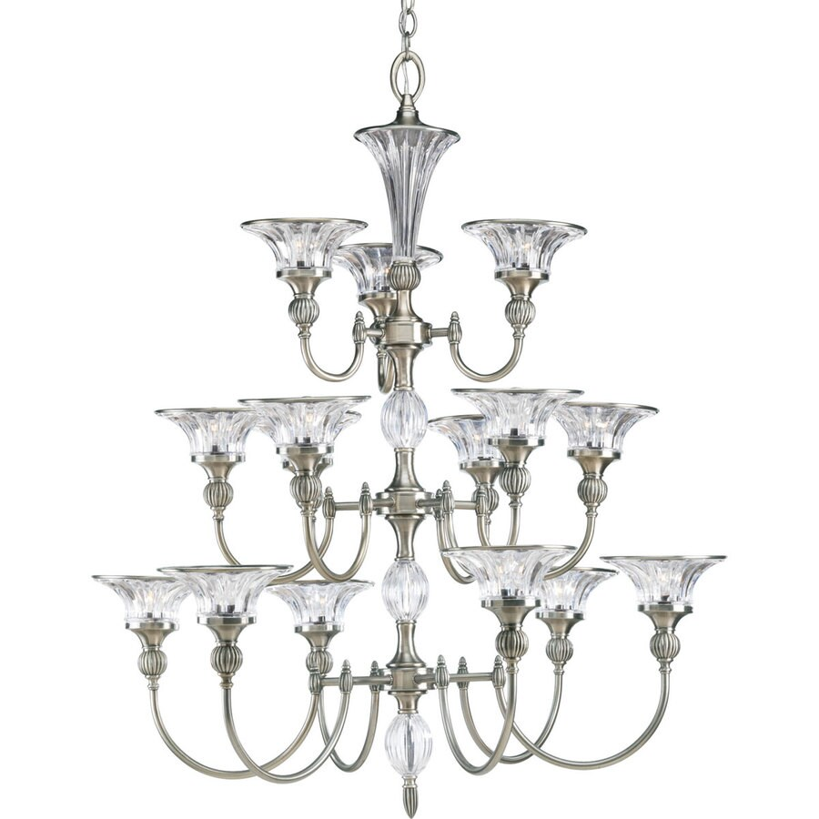 Progress Lighting Roxbury 36.125-in 15-Light Classic Silver Crystal Clear Glass Tiered Chandelier