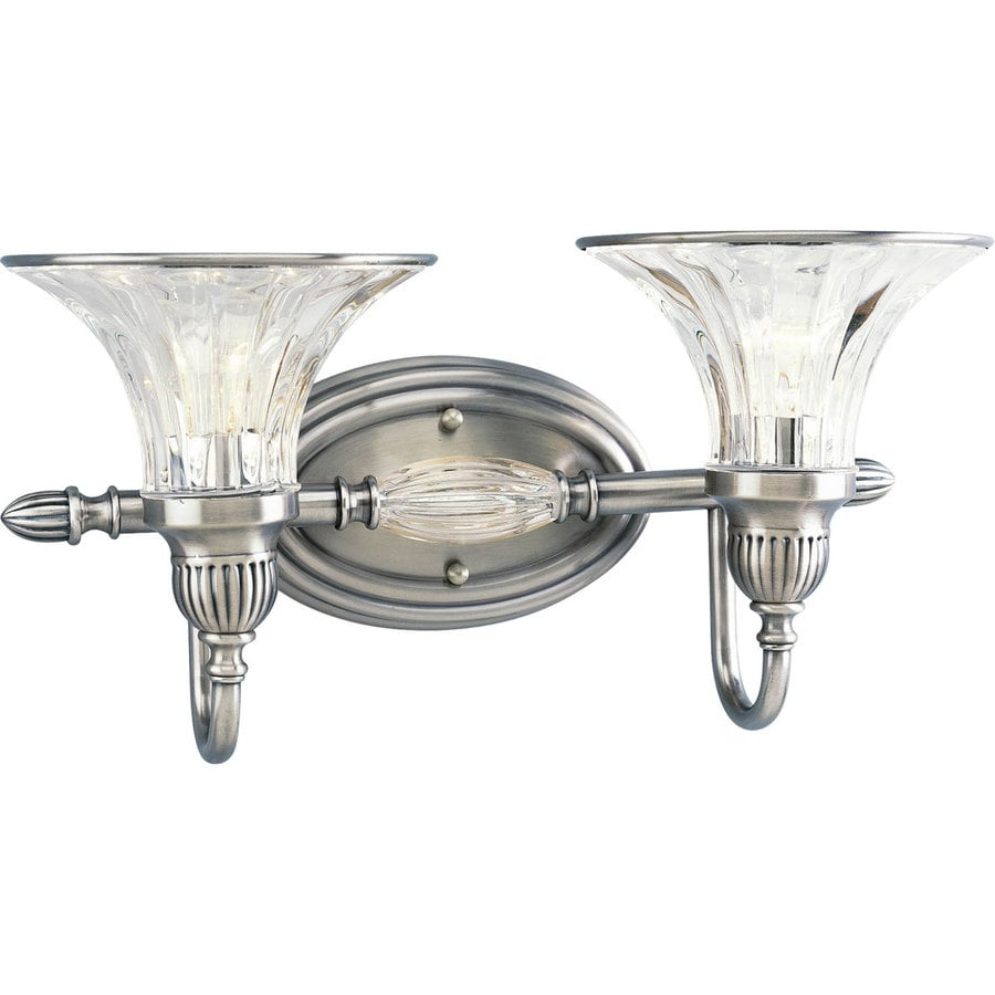 Progress Lighting Roxbury 2-Light 8.625-in Classic Silver Bell Vanity Light