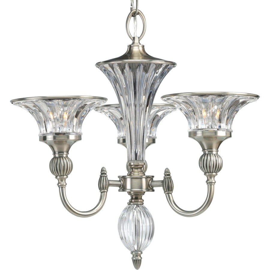 Progress Lighting Roxbury 19-in 3-Light Classic Silver Crystal Clear Glass Shaded Chandelier