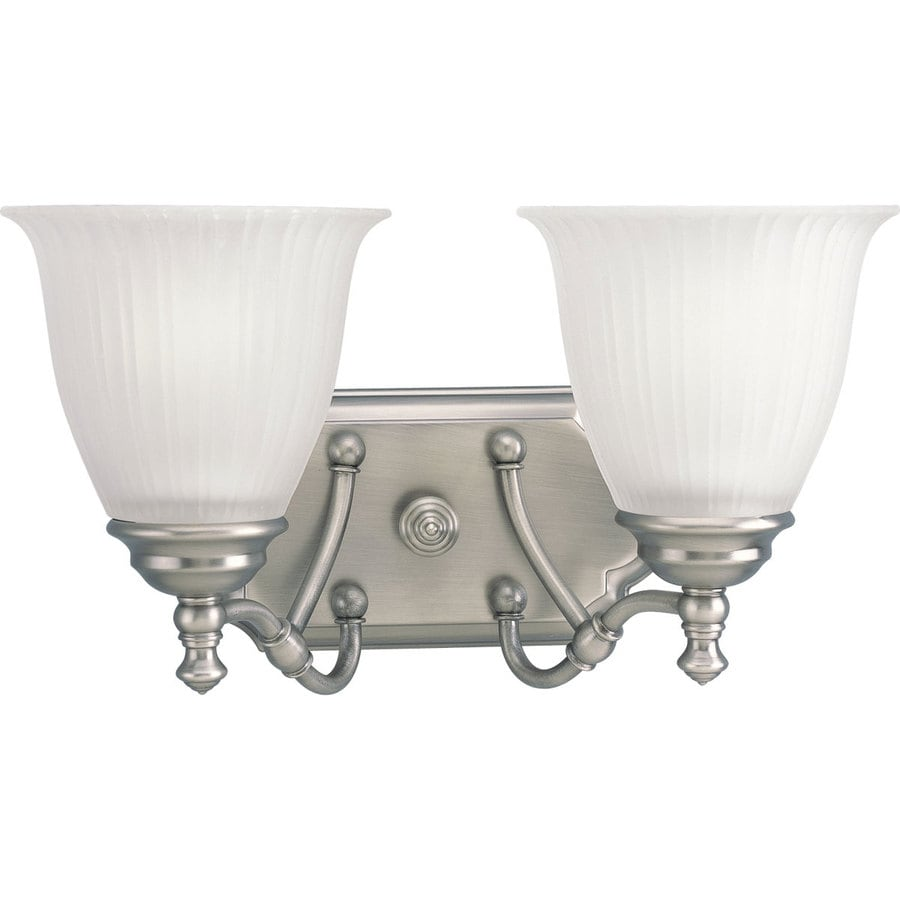 Progress Lighting Renovations 2-Light 8.25-in Antique nickel Bell Vanity Light