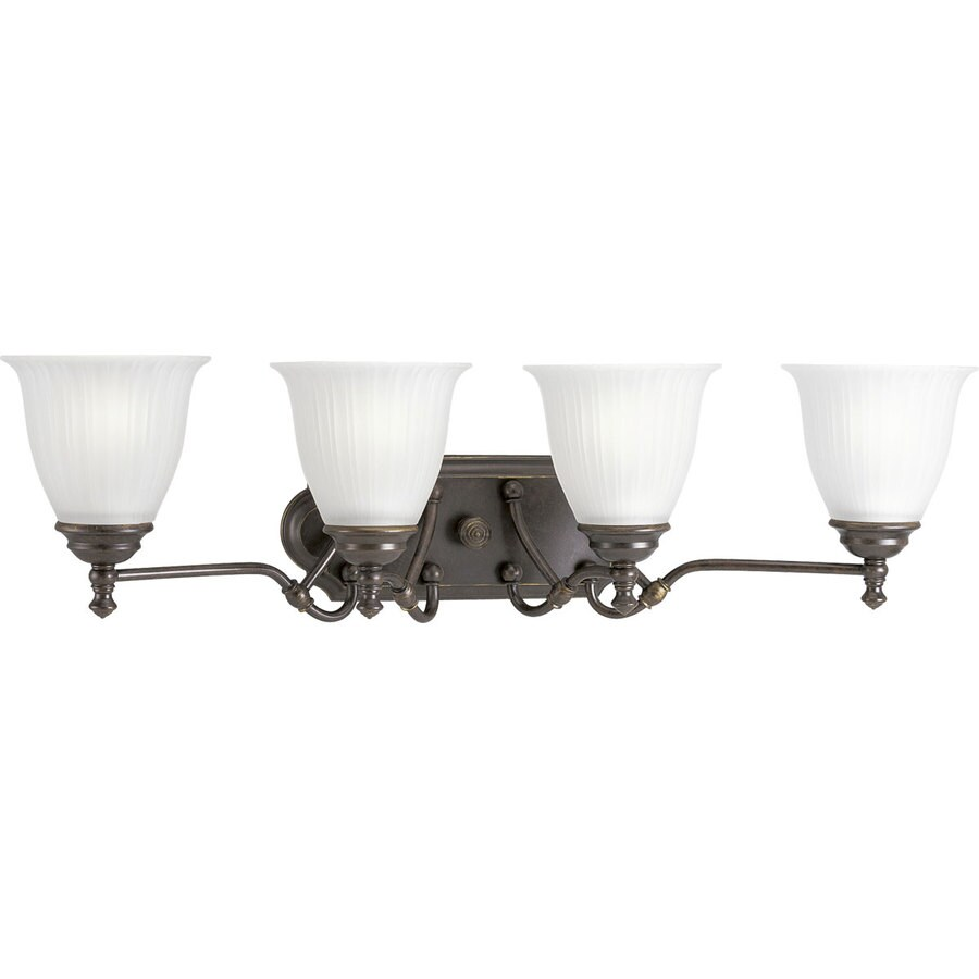 Progress Lighting Renovations 4-Light 8.25-in Forged Bronze Bell Vanity Light