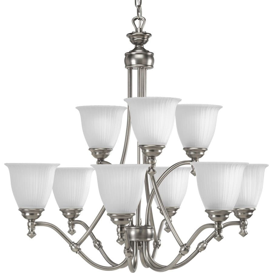 Progress Lighting Renovations 30-in 9-Light Antique Nickel Etched Glass Tiered Chandelier