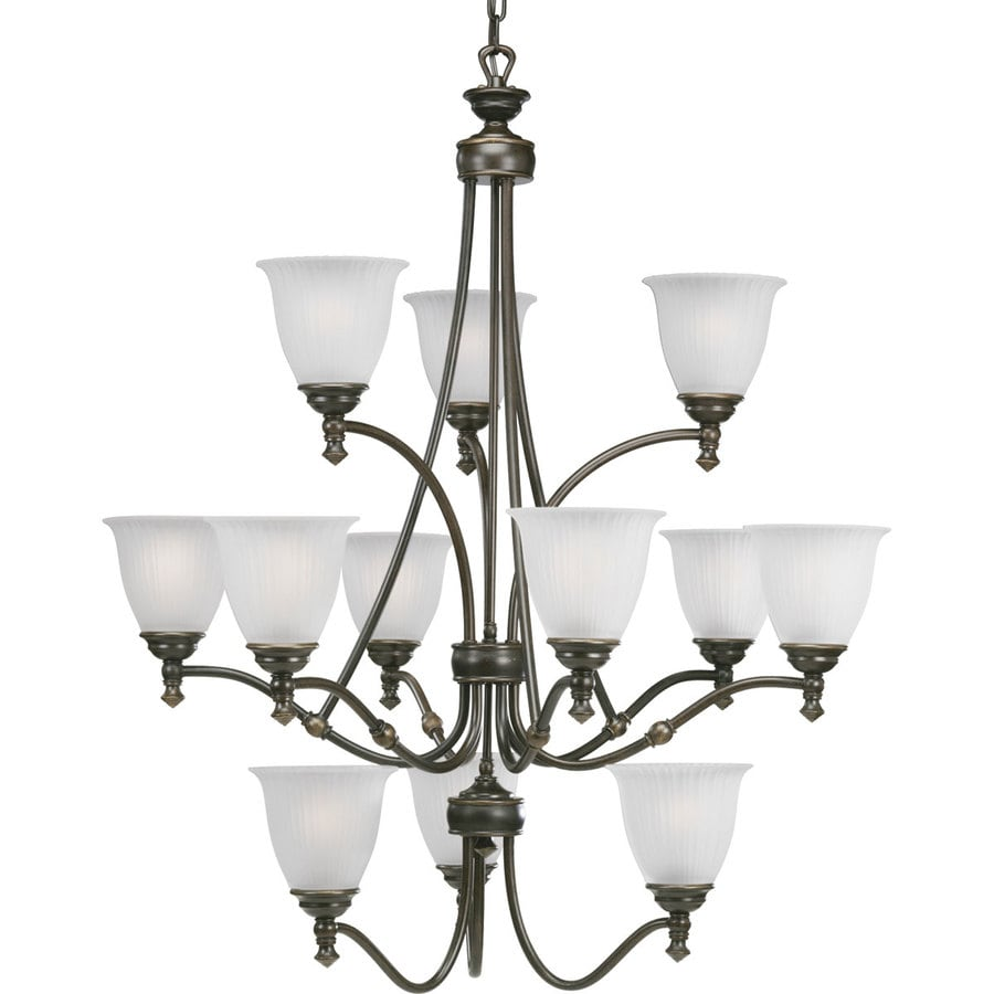 Progress Lighting Renovations 33-in 12-Light Forged Bronze Etched Glass Tiered Chandelier